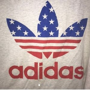 Red White and Blue Patriotic Adidas Trefoil Top